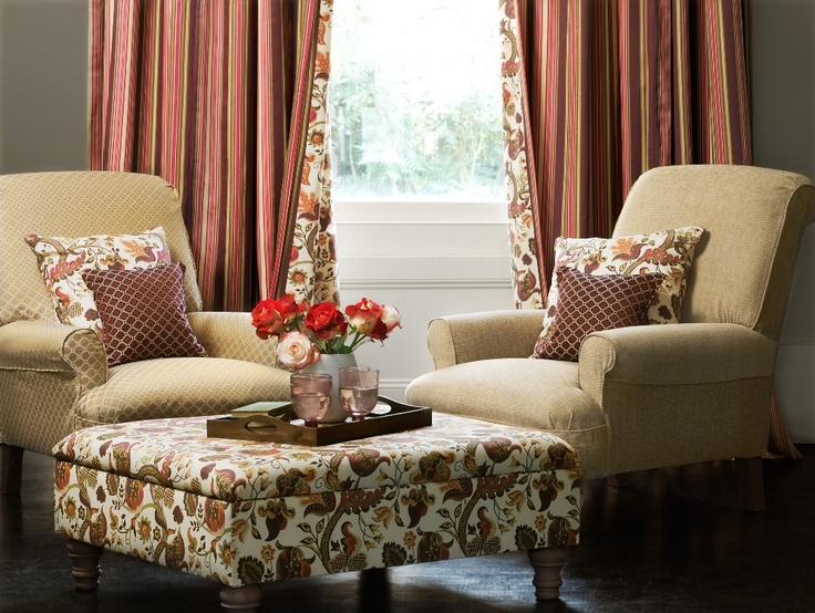 Bellevue Prints & Weaves - Radiance (Foot Stool), Clarity (Curtains), Calcot (Left Chair), Chartwell (Right Chair).