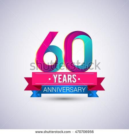 60 years anniversary logo, blue and red colored vector design