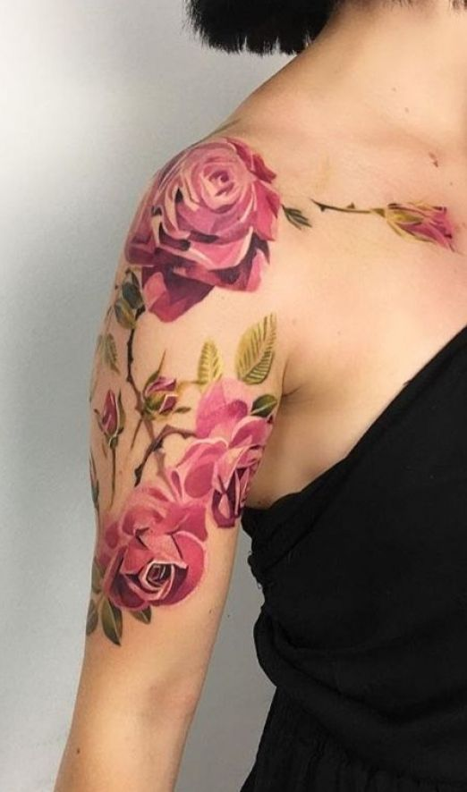 Watercolor Floral Tattoo Sleeve Aquarell Blumentatowierungshulse