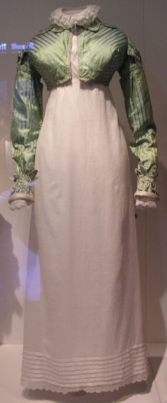 White Muslin Gown with Green Silk Spenser Since the gown is white muslin, I'm thinking this might even have been like a house jacket...cuff details nice...maybe a little warm for our season in general