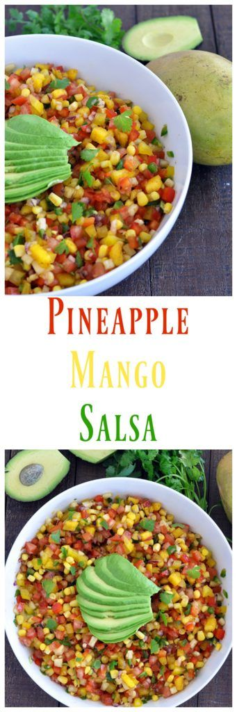 This fresh and healthy pineapple mango salsa is perfect for an protein. Awesome for cookout and outdoor parties! Vegan, gluten free and paleo approved!