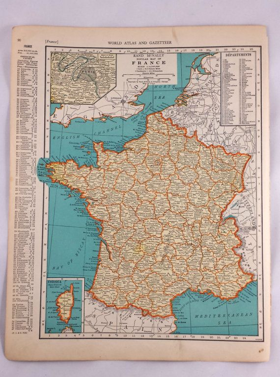1937 Map of France Antique Map of France Netherlands Belgium
