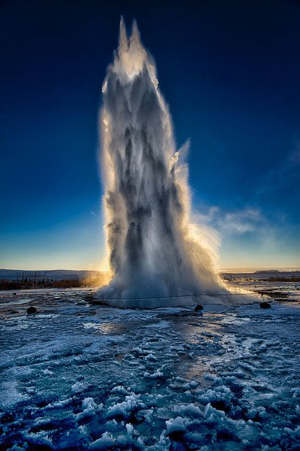 Geysir - Iceland. Saw this during our Golden Circle tour. Amazing shot here. Nature is so pure and at its finest in Iceland.: