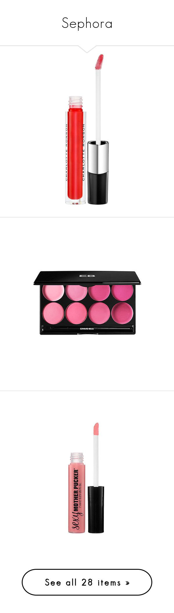 """Sephora"" by brittneysaysrawrrr ❤ liked on Polyvore featuring beauty products, makeup, lip makeup, lip gloss, beauty, lips, maquiagem, flavored lip gloss, lip shine and charlotte ronson"
