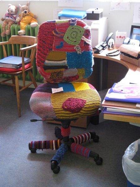 "Shared by bigtangle who says, ""I run a primary after school knitting club for 7 – 11 year olds. Last term we yarn bombed the Head Teacher's chair without her knowing!"""