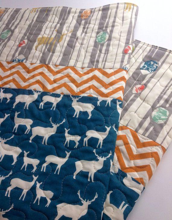 Baby Quilt Boy Rustic Modern Quilt Elk Deer NavyTeal by CoolSpool