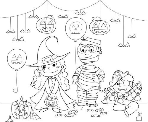 Halloween-Coloring Costume-Party
