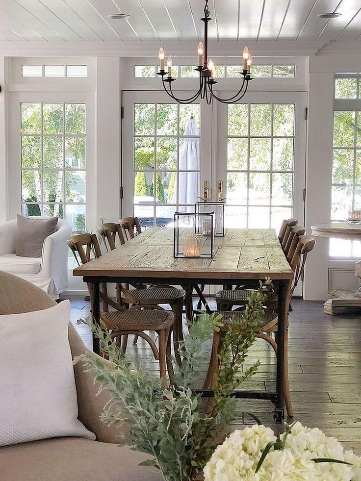 35 Cool Farmhouse Dining Room Design Ideas | Casual dining ...