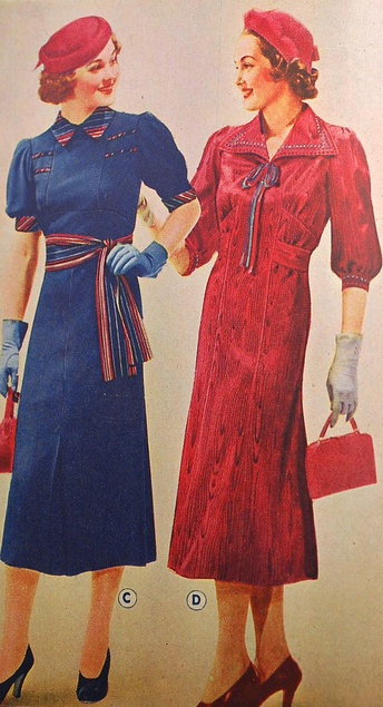 Beautiful 1930's fashion illustration. Day dresses were almost important as evening dresses. With this, they wore short gloves and hats and bags that matched. After the flapper decade, longer skirts and the natural waist was restored.