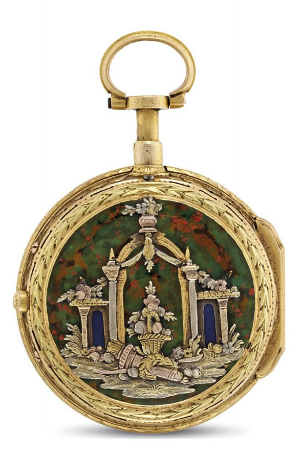 FRERES ESQUIVILLON & DECHOUDENS. A GOLD AND ENAMEL OPENFACE À TOC QUARTER REPEATING KEYWOUND VERGE WATCH  SIGNED FRES ESQUILLON & DE CHOUDENS, MOVEMENT NO. 22'556, CIRCA 1780