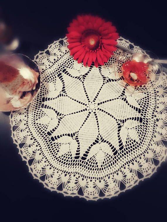 Crochet lace doily handmade crochet tabletopper elegant