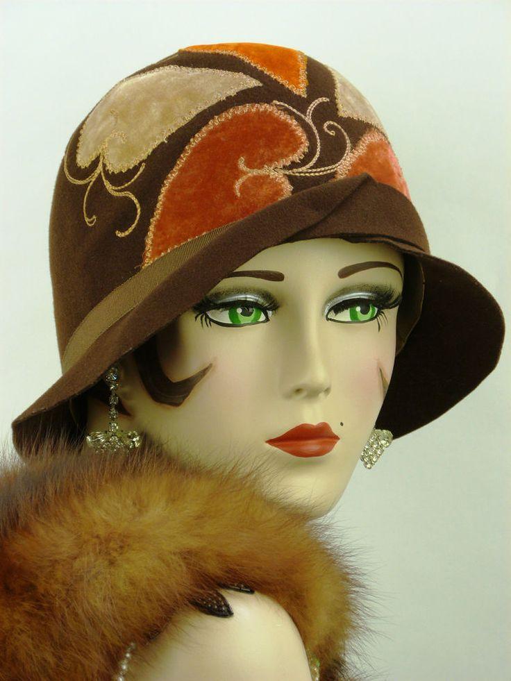 Details about Vintage 1920s wool felt cloche women's hat brown color