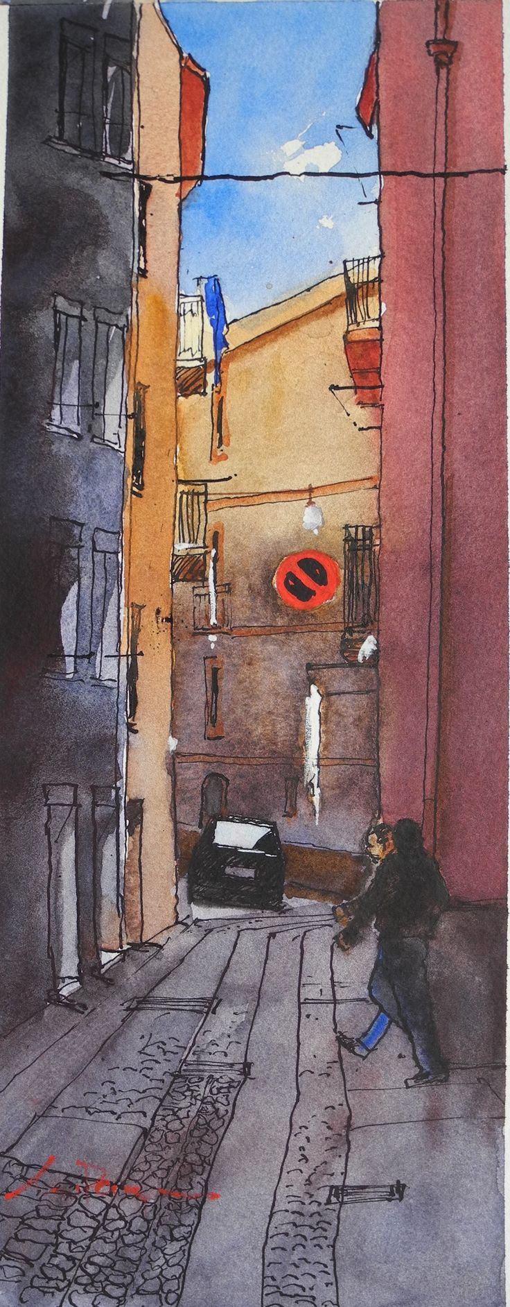 """Another Bosa Street scene. 13x5"""" Pen, ink and watercolour."""