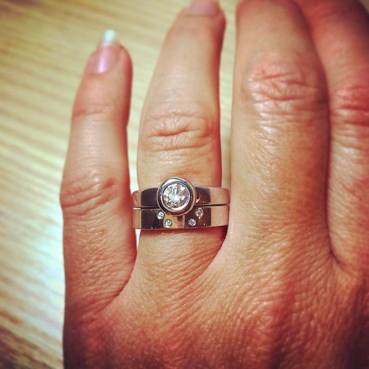 Diamond engagement and wedding rings for Lauren, by Alison Blain