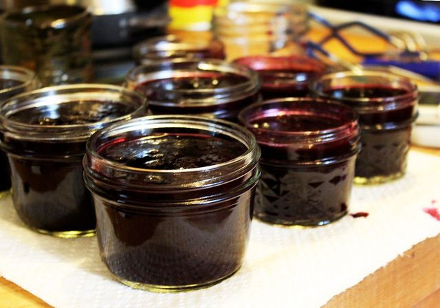 Blueberry Rhubarb Maple Syrup Jam - We didn't have nutmeg or ginger, so we substituted with vanilla (from another recipe).