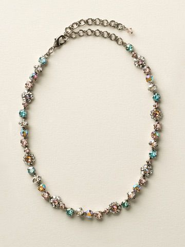 Classic Crystal Floral Necklace in Sky Blue Peach - Sorrelli