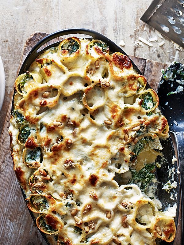 Ricotta and kale cannelloni: This ricotta and kale cannelloni is an easy vegetarian option. It freezes well too, so make a batch and freeze for later