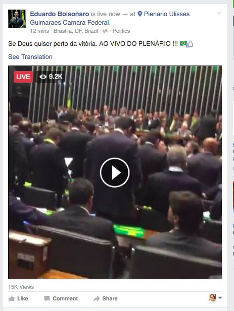 Eduardo Bolsonaro live from the House floor during the impeachment vote for President Rousseff