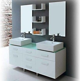 "Seabreeze Modern Double Sink Bathroom Vanity Set 55"" - modern - bathroom vanities and sink consoles - dallas - by The Interior Gallery"
