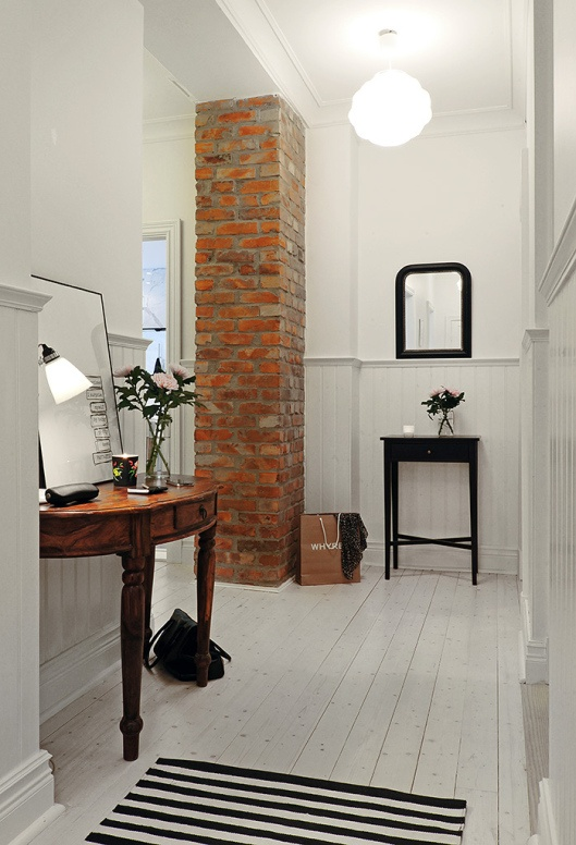 Nordic-Bliss-Swedish-home-Scandinavian-style-white-hall-way-brick-  Ooh I LOVE this whole thing!