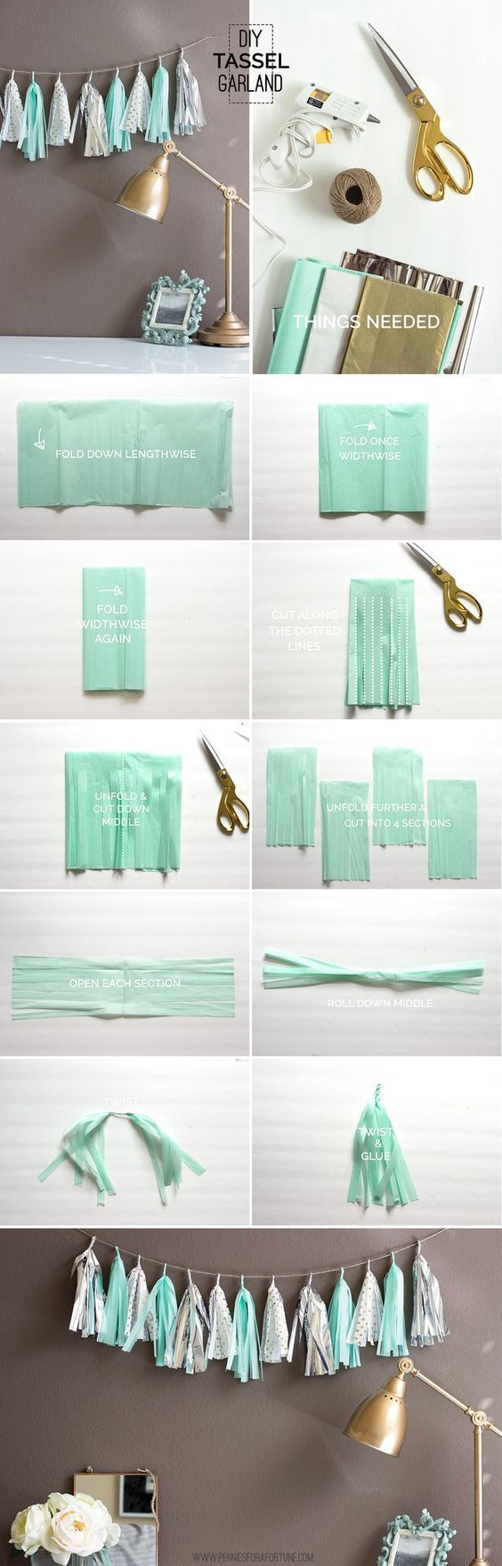 Tassel garland is a great DIY dorm room decor idea!
