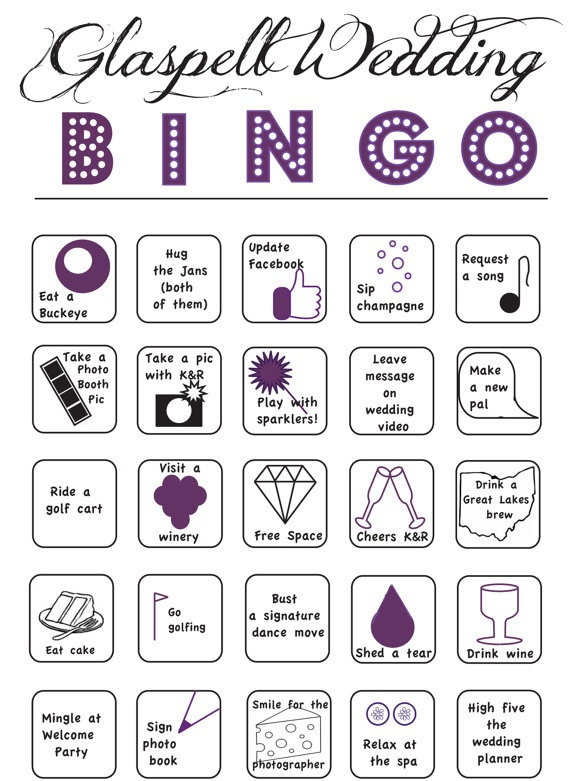 Custom Wedding BINGO on etsy...LOVE this! good way to get people moving at your wedding!