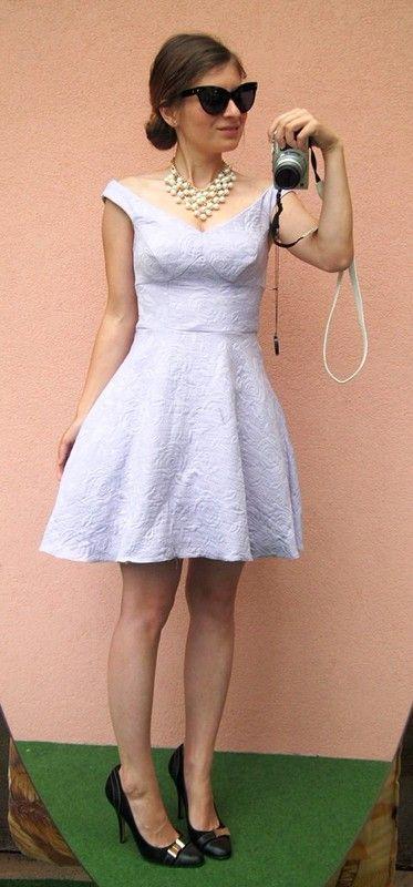 Asos Bardot Dress Brokátové pudrové ladylike šaty s tutu sukní Nové - vinted.cz