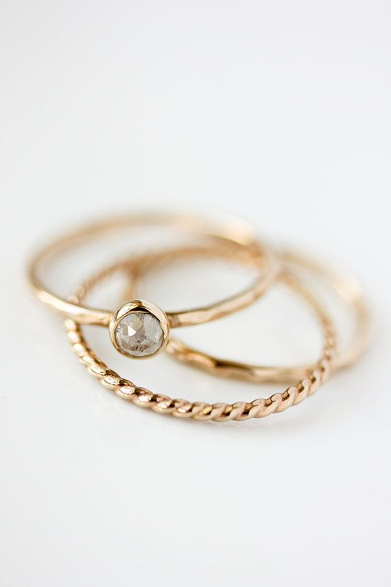 Rose cut zilver grijs diamantring verlovingsring door BelindaSaville
