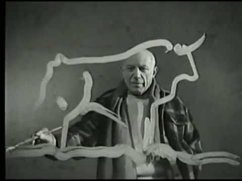 #Picasso at work - fabulous video showing Picasso's artistic vision and ability [I suggest turing the volume off and putting on your own music to watch]