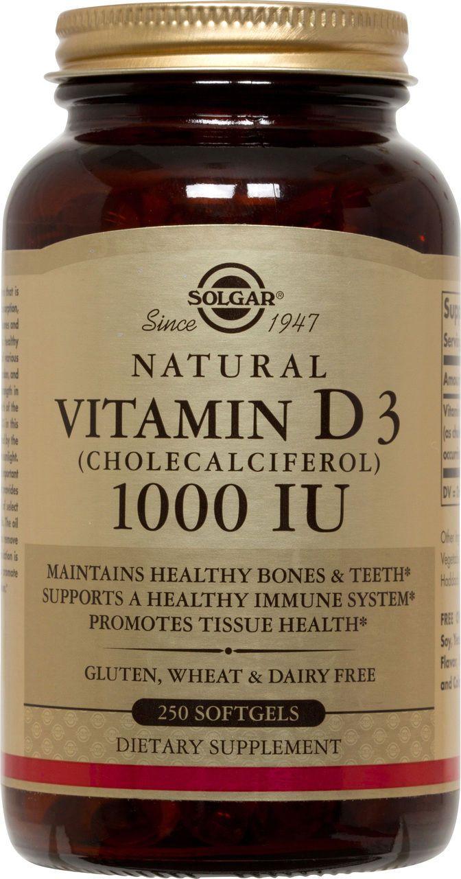 Solgar Vitamin D3 Cholecalciferol 1000 IU 250 Softgels