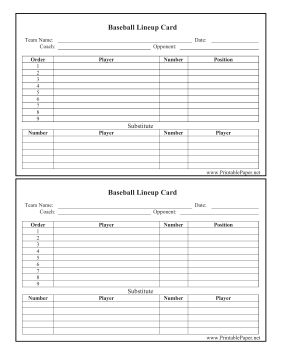 Coaches and team captains can keep track of the athletes on the roster with this printable lineup card. Free to download and print