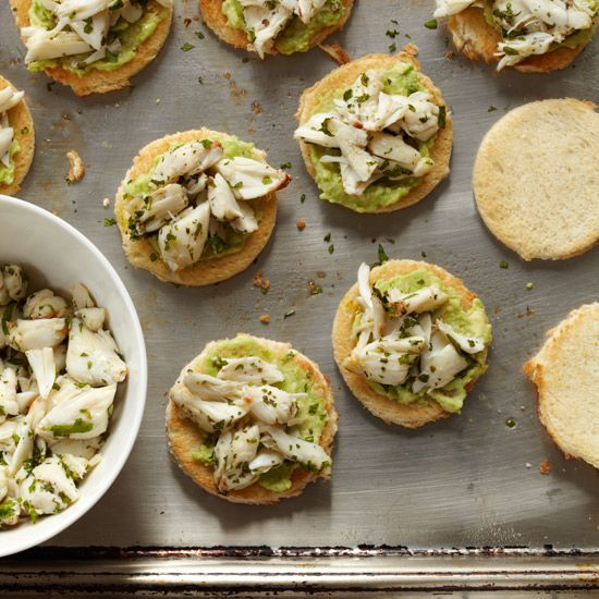 Crab-and-Avocado Toasts | 22 recipes for fast hors d'oeuvres, from parmesan tuiles to crab toasts.