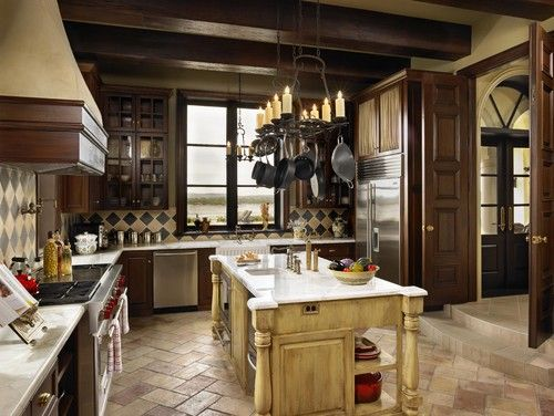 Medieval Inspired Kitchen Would Prefer All Darker Distressed Wood With More Stained Glass And Ironwork