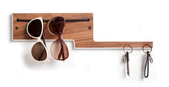 If my mudroom organizer were this good-looking, I might not actually lose my keys.Decor, Projects, Sunglasses Holders, Holders Ideas, Elephant Walnut, Mudroom Organic, Sunglasses Keys Holder, Hanging Sunglasses, Colors Edging