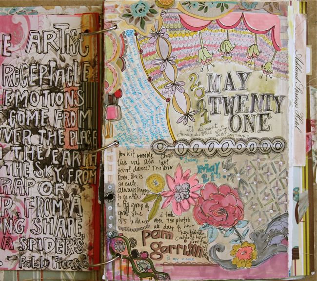 Sketchbook Project 2012 Inspiration...just look at the depth of this journal page! I love the lettering and the colors Pam Garrison uses in her journals.  Great inspiration...