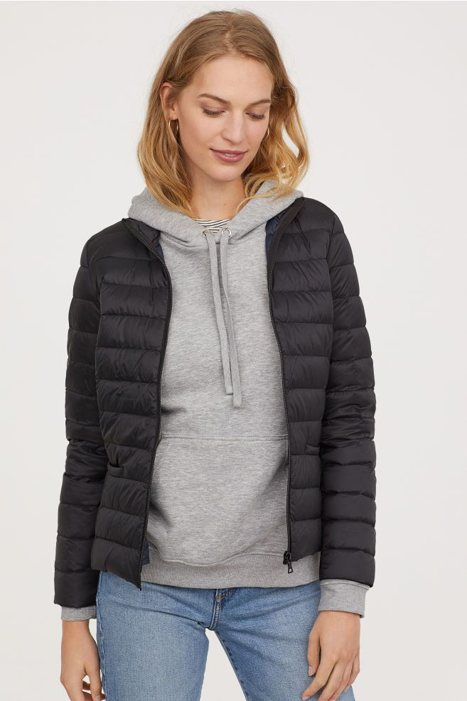 e075743a239 H&M Lightweight Down Jacket - Black | Womenterprisers | Jackets for ...