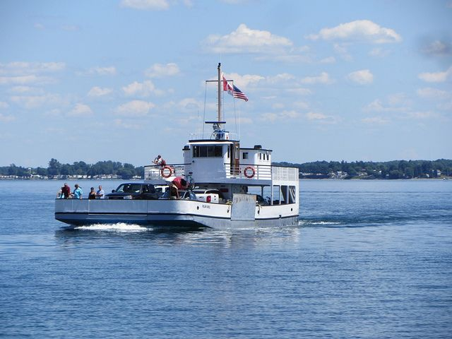 Hornes Ferry goes to Wolfe Island in Ontario.  It is only operational in the summer months.