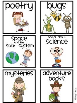 This set includes 37 different genre labels for your classroom library! The labels come in two different sizes (smaller size for magazine boxes, an...