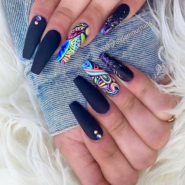 43 Crazy Gorgeous Nail Ideas For Coffin Shaped Nails Page 2 Of 4 Stayglam Coffin Shape Nails Gorgeous Nails Festival Nails