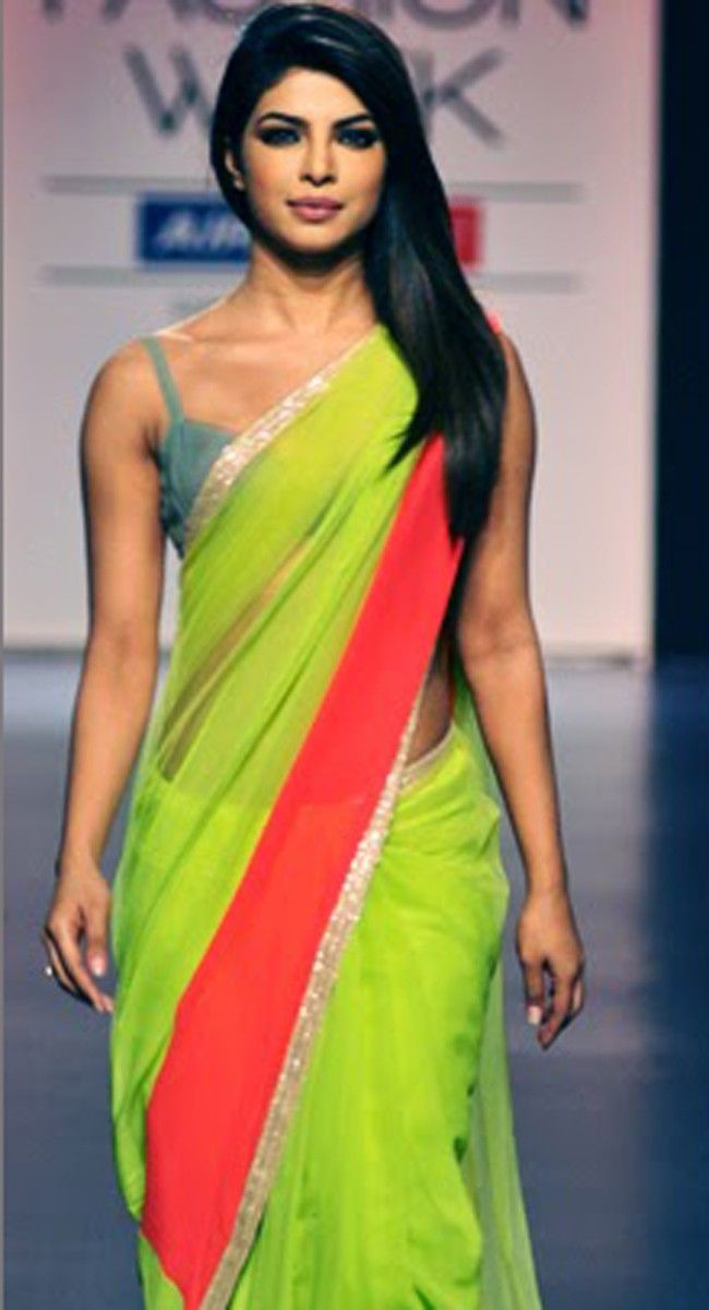 Priyanka Chopra Designer Bollywood Replica Lemon Saree