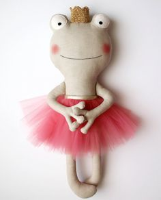 The frog princess. Handmade stuffed animal with a coral by blita