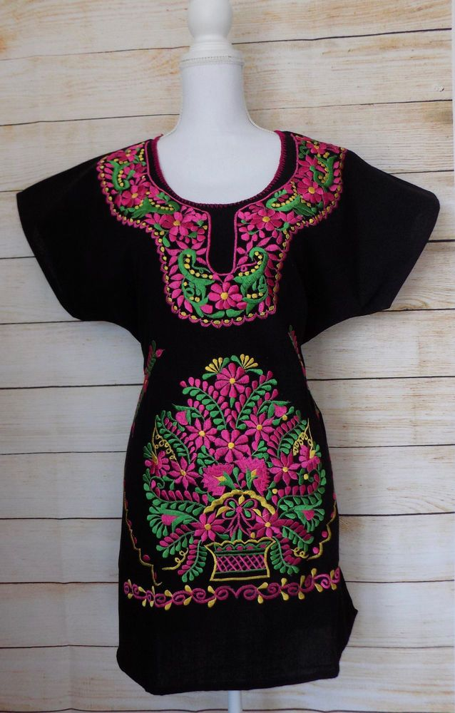 a8f73a18ea687 Women's Mexican Peasant Dress Black Medium Large Floral Embroidery Handmade  #Handmade #PeasantDressDressMexicanDress