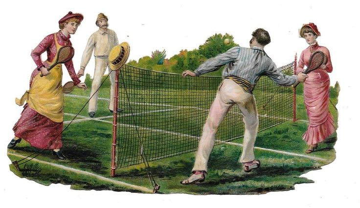 Victorian Die Cut Scrap A Tennis Doubles Game  ca. 1880s