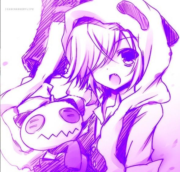 This such a cute anime drawing of a person in a panda hoodie
