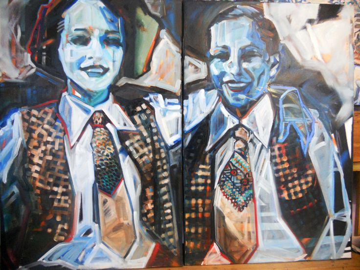 "Bobby & Ryder - oil on aerosol on two 24"" x 36""  canvases. Available thru blu Egg Interiors, Miami  508-680-6218"