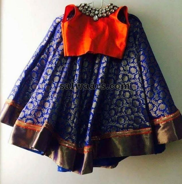 Royal Blue Lehenge Orange Blouse - Indian Dresses
