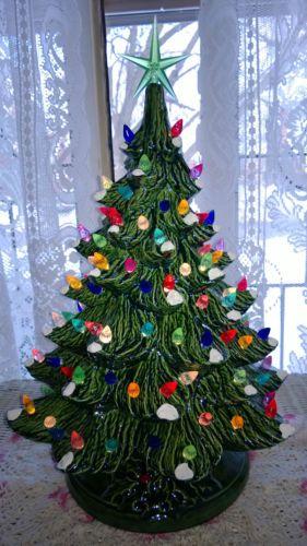 Vintage Nowell Mold Lighted Snow Flocked Ceramic Christmas