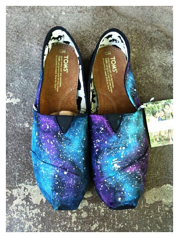 This Galaxy pair of custom TOMS is made to order with colors of your choosing. Buy through Etsy or email at AustinLiebstArt@gmail.com