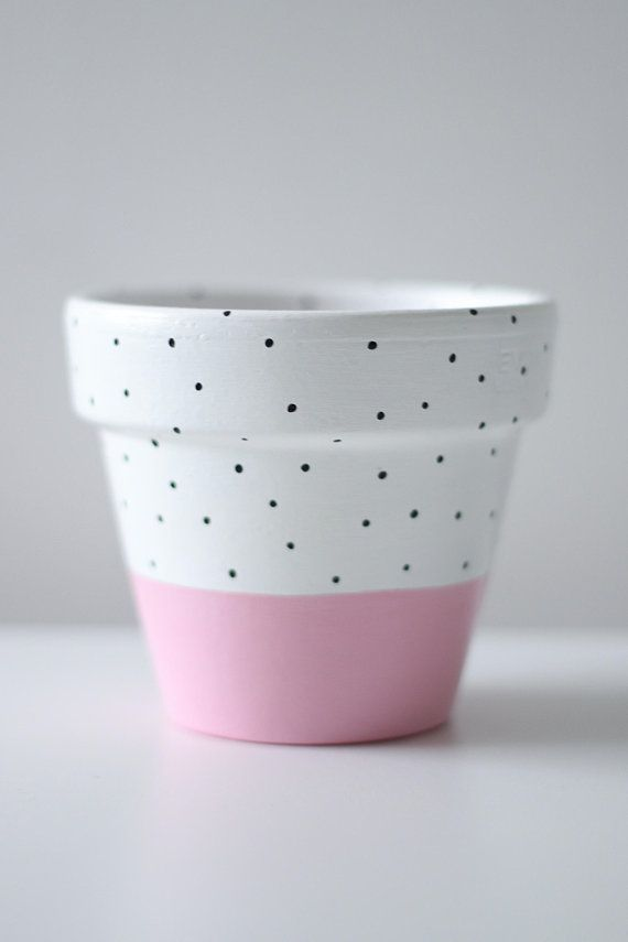 Pinterest & Pastel Pink White And Black Polka-Dot Plant Pot 11cm x 9.5cm ...