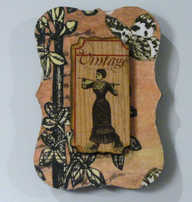 Vintage Lady in Victorian Dress on Floral and Butterfly Background Decoupage Wood-on-Wood Magnet by VioletVox on Etsy